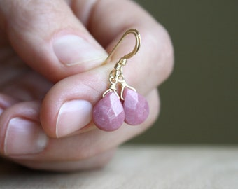 Rhodonite Earrings in 14k Gold Fill for Perspective and Forgiveness