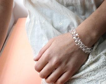 50% OFF SALE - Clear Crystal Bracelet . Dainty Teardrop Bracelet . Clear Beaded Bracelet - Shimmer Collection
