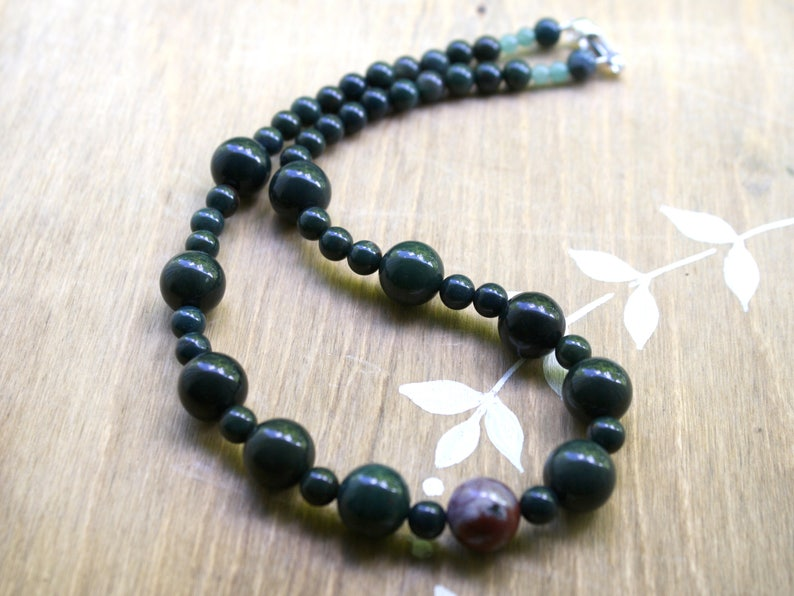 Protection Necklace Bloodstone Necklace for Women and Men Wellness Jewelry
