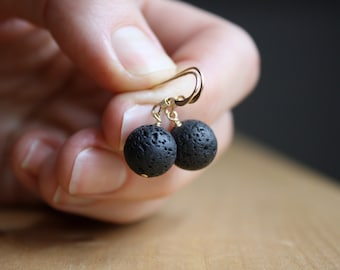 Lava Rock Stone Earrings for Grounding and Essential Oil Diffusion