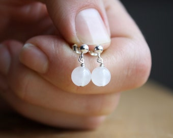 White Quartz Studs in Sterling Silver for Harmonizing and Cleansing