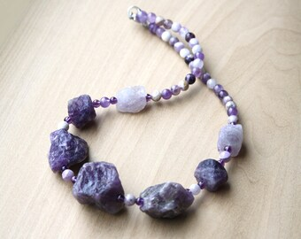 Raw Amethyst Necklace for Protection and Soothing Meditation