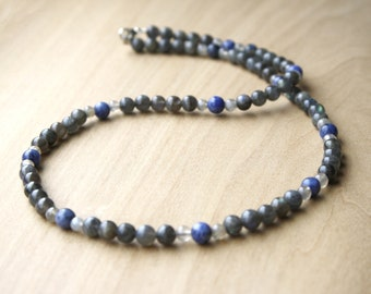 Natural Labradorite Necklace with Sodalite for Meditation and Intuition