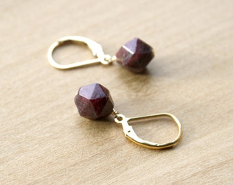 Genuine Garnet Lever Back Earrings for Sharpening Perception and Clearing Negative Energy