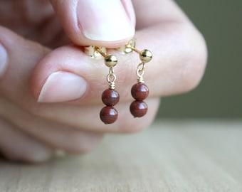 Red Jasper Earrings in 14k Gold Fill for Grounding and Strength