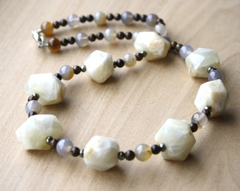 Natural Moonstone, Bronzite, Agate, and Pyrite Necklace for Inner Strength and Calm