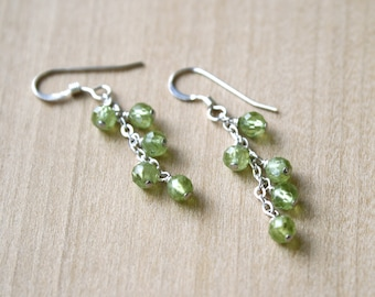 Natural Peridot Earrings in Sterling Silver for Motivation and Cleansing Energy