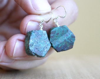 Natural Chrysocolla Earrings in Sterling Silver for Acceptance and Courage