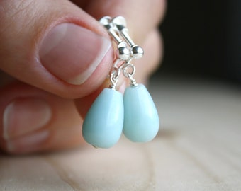 Amazonite Clip On Screw Back Earrings for Anxiety Relief and Calm