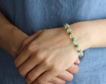Multi Gemstone Bracelet with Prehnite, Peridot, and Green Garnet