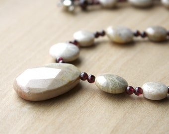 Fossil Coral Necklace with Garnet for Courage and Hope