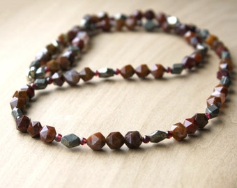 Natural Agate, Garnet, and Pyrite Necklace for Courage and Inner Power