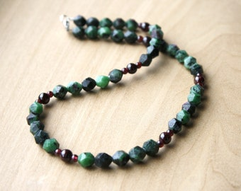 Ruby Zoisite and Garnet Necklace for Abundance and Confidence