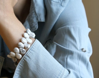 White Howlite Bracelet for Anxiety Relief and Self Expression