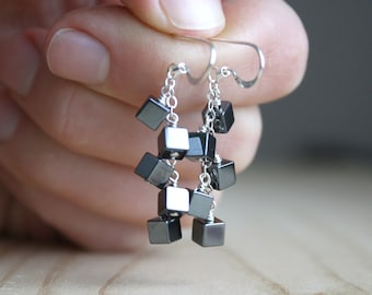 Hematite Earrings for Anxiety Relief and Meditation