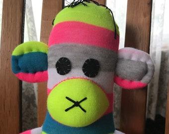 Bright, Striped Sock Monkey