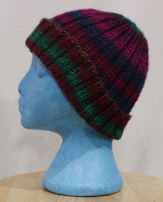 a235f325b65 Hand knit northern lights beanie for small adult or teenage