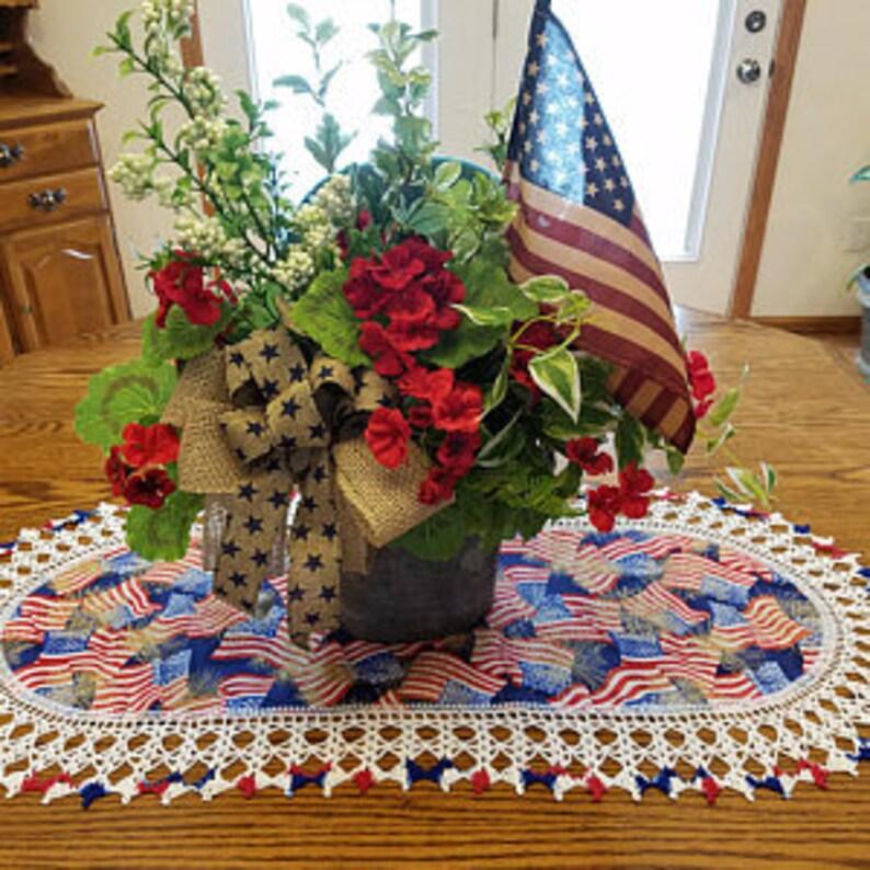 4th Of July Table Runner Crochet Patriotic Memorial Day Etsy