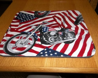 Mouse Pad, Motorcycle, Patriotic, 4th of July, USA Flag, Rectangle, Desk Accessory, Mouse Mat, Office Decor, Handmade, Computer Accessories