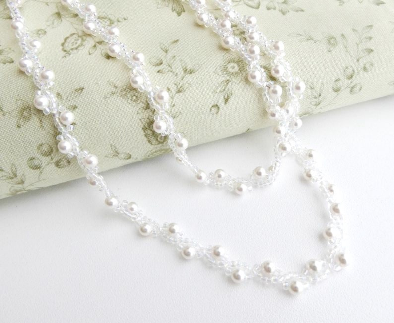 Pearl rope necklace seed bead choker