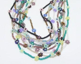 daisy chain necklace,daisy flower necklace,long beadwoven chain necklace,wrap bracelet