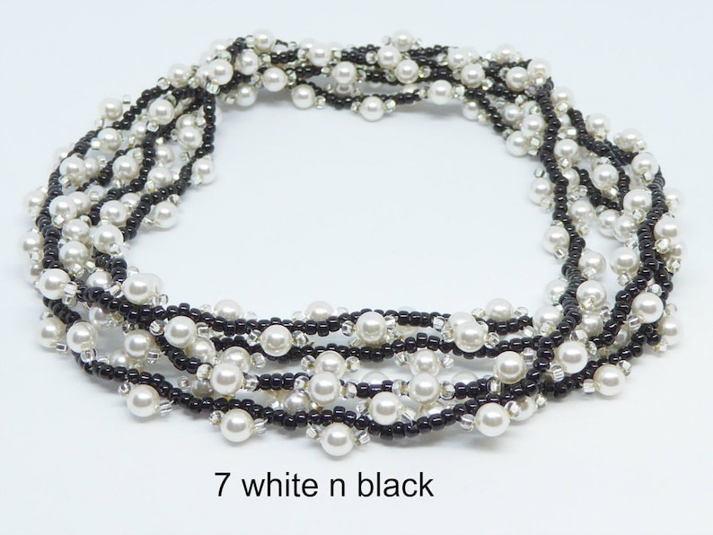 Pearl rope necklace seed bead woven