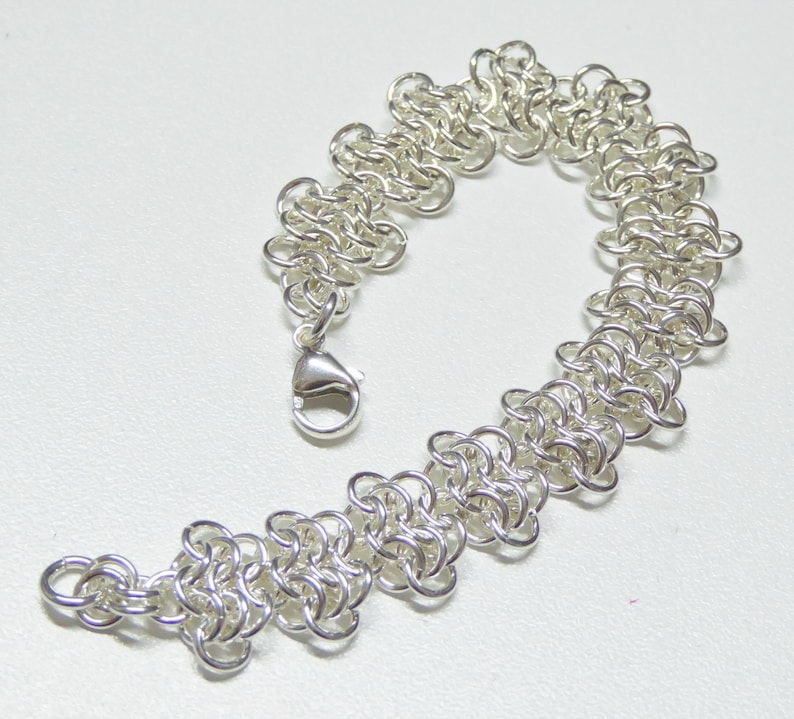 Silver chain bracelet Silver chainmail jewelry Sterling silver chainmail bracelet Custom made bracelet