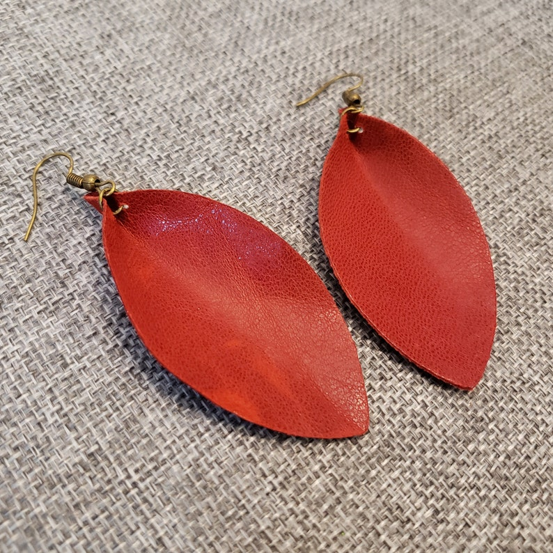 Red Pinched Leather Earrings