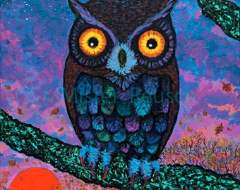 Harvest Moon Owl Signed Print by Mister Reusch