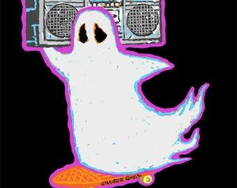 BOOmbox Skateboarding Ghost Signed Print by Mister Reusch