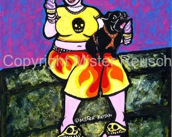 Black Pug Eating Soft-Serv Original Painting by Mister Reusch