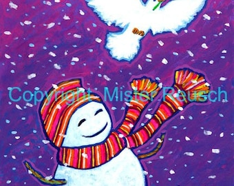 Snowman and Dove Original Holiday Painting by Mister Reusch