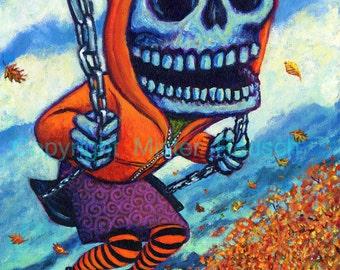 Autumn Skeleton Girl on Swingset Year of the Dead  Signed Print by Mister Reusch