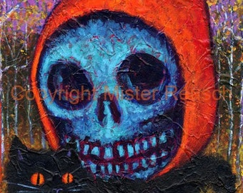 Autumn Skeleton with Black Cat Signed Halloween Print by Mister Reusch