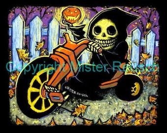 Grim Reaper on Big Wheel Halloween Signed Print by Mister Reusch