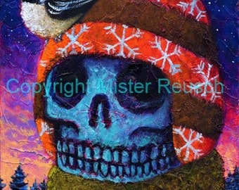 Winter Skeleton with Chickadee Signed Print by Mister Reusch