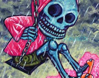 Spring Skeleton Girl on Swingset Year of the Dead Signed Print by Mister Reusch