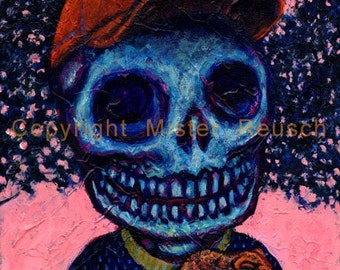 Summer Skeleton Boy with Toad Original Painting by Mister Reusch