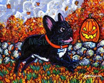French Bulldog Autumn Seasonal Art Print by Mister Reusch