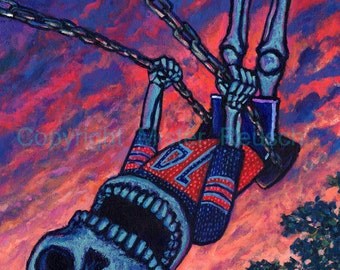 Summer Skeleton Boy on Swingset Year of the Dead Signed Print by Mister Reusch