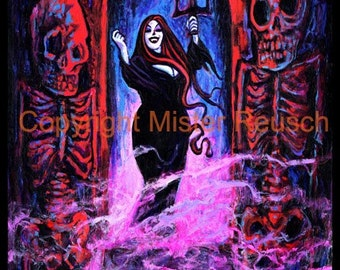 Vampire Woman and Skeletons Signed Halloween Art Print by Mister Reusch