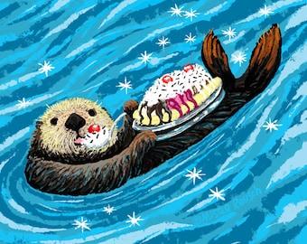 Otter Have A Banana Split Signed Print by Mister Reusch