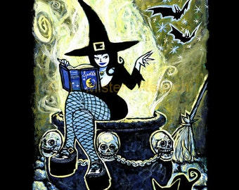 Cauldron Witch Signed Halloween Print by Mister Reusch