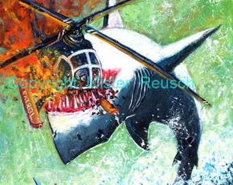 Great White Shark Eating Helicopter Signed Art Print by Mister Reusch