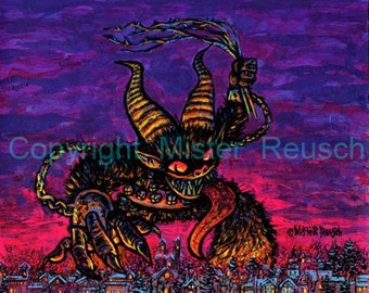 Giant Krampus Signed Christmas Print by Mister Reusch