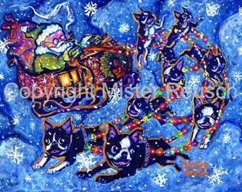 Boston Terrier Santa Sleigh Art Print by Mister Reusch