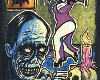 Phantom of the Opera Original Halloween Painting by Mister Reusch
