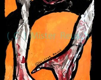 Halloween Zombie Signed Art Print by Mister Reusch