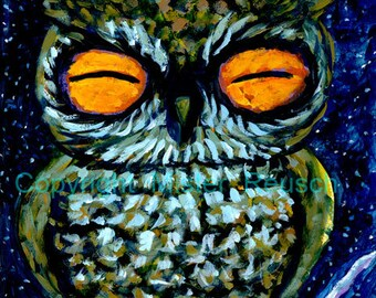 Sleepy Owl Signed Print by Mister Reusch