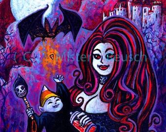 Vampire Mother and Child Halloween Art Print by Mister Reusch